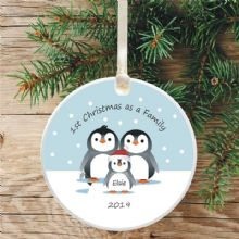 Penguin Tree Bauble Decoration, 1st Christmas as a Family - Cute Penguin Gift